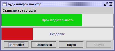 Будь Альфой монитор - главное окно программы