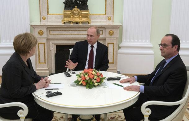Переговоры Путина Оланда и Меркель